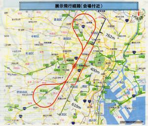 東京上空を描く飛行経路。